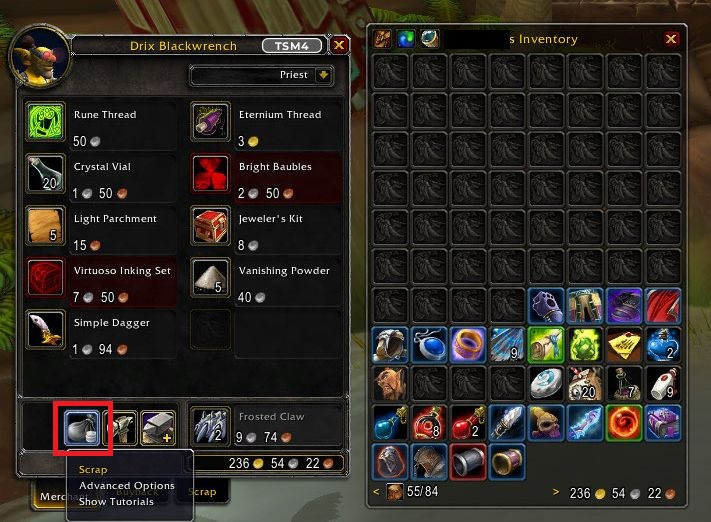 WoW Screenshot Addons Bagnon und Scrap