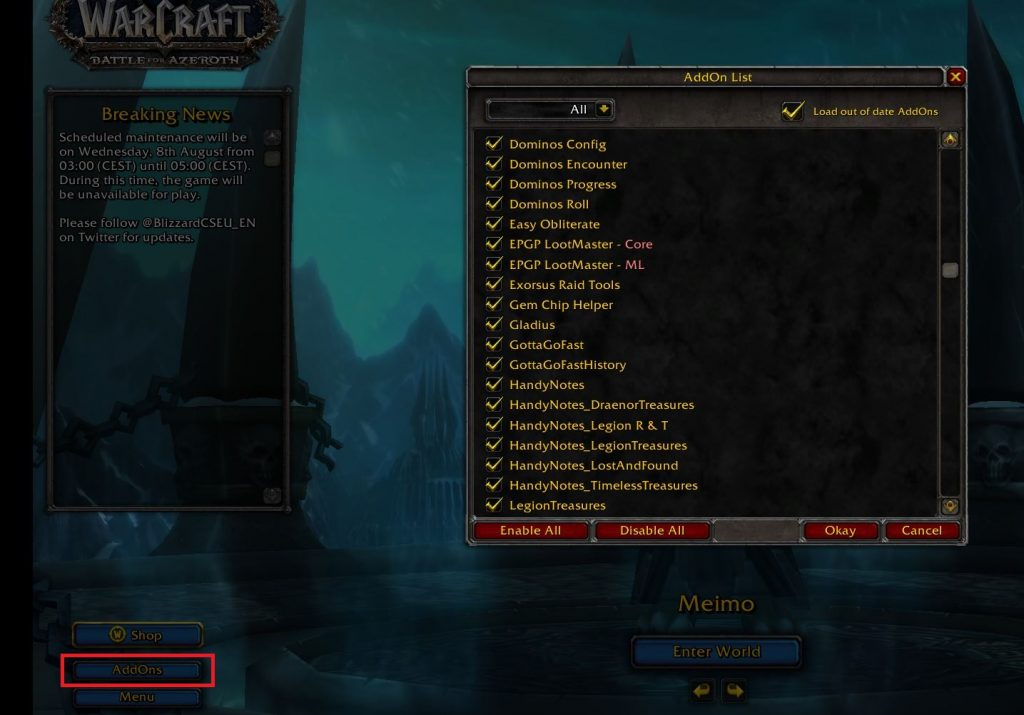 WoW Screenshot Addons im character screen