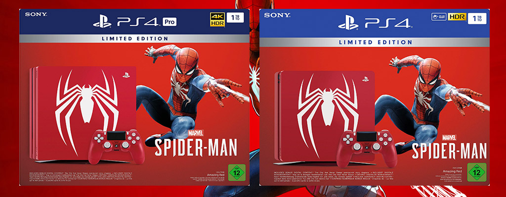 spider man ps4 pro und ps4 slim limited edition jetzt. Black Bedroom Furniture Sets. Home Design Ideas