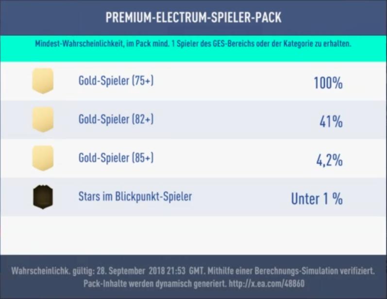 FIFA 19 Wahrscheinlichkeit Premium Electrum