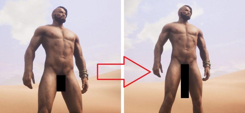Conan Exiles zensierte Dinger im Vergleich
