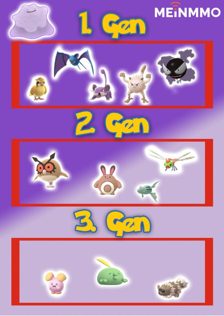 Pokémon GO Ditto Liste Sep 18
