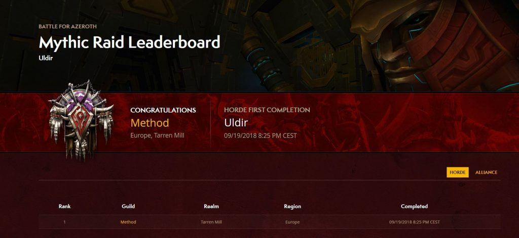 WOW raid leaderbaord uldir method world first