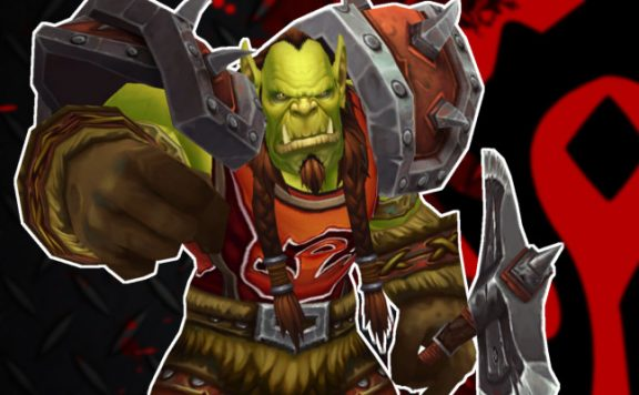 WoW Orc pointing Horde logo title