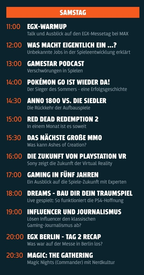 egx max streaming samstag schedule