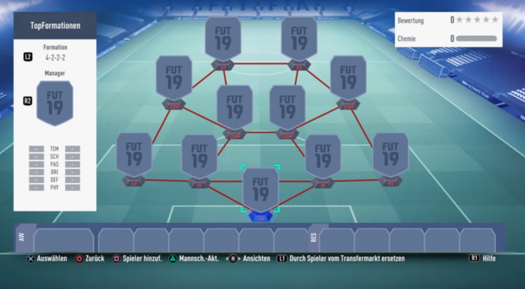 Die Formation 4222 in FIFA 19