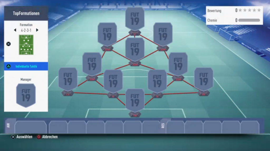 Formation 4-2-3-1 in FIFA 19