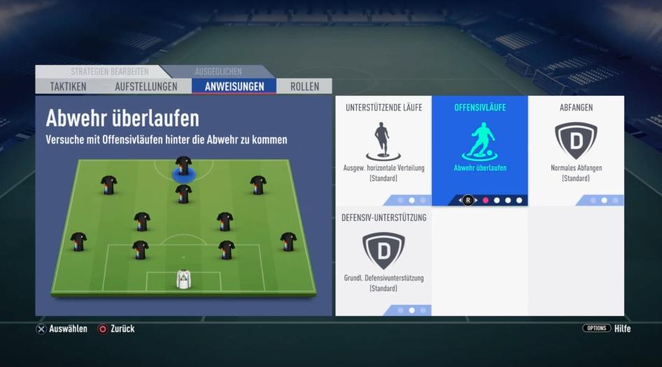 FIFA 19 individuelle Einstellung Anweisung Stürmer