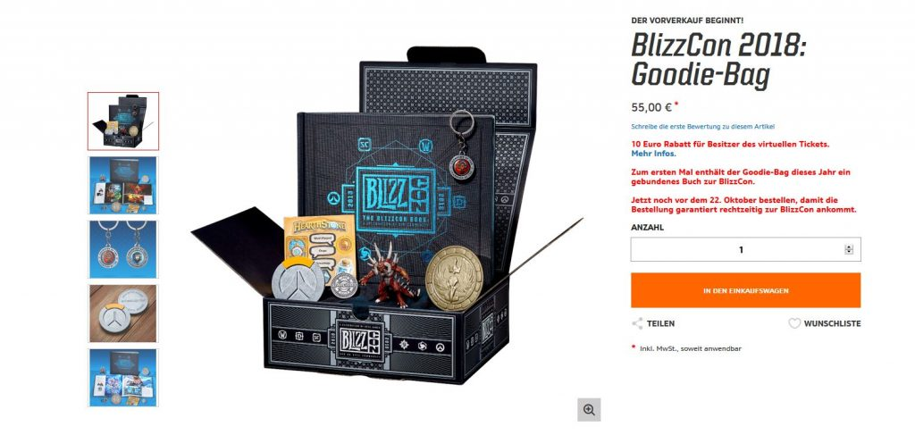 Blizzcon Goodie Bag im Blizzard Store