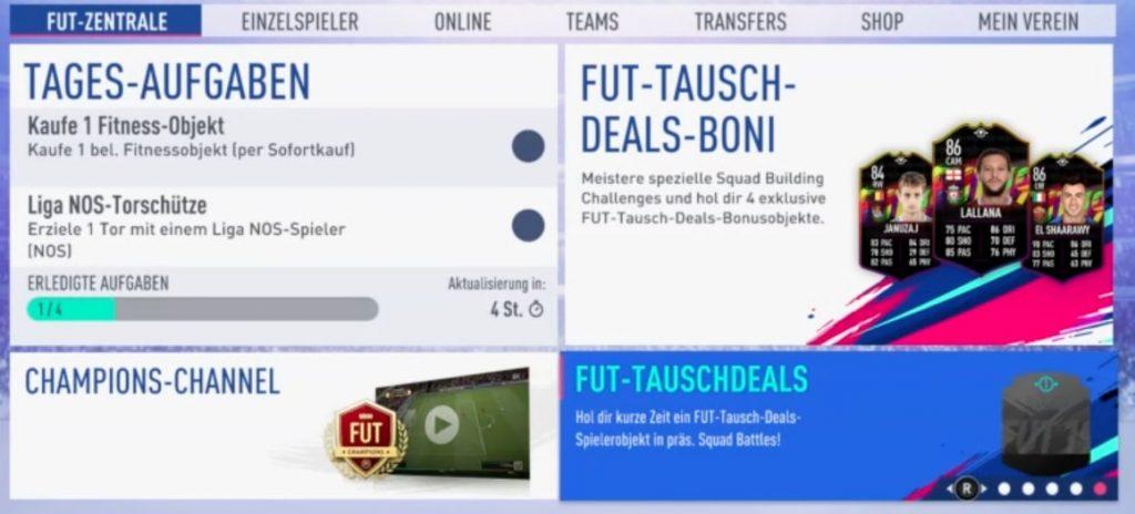 FIFA 19 FUT Swap Deal Hinweis Zentrale
