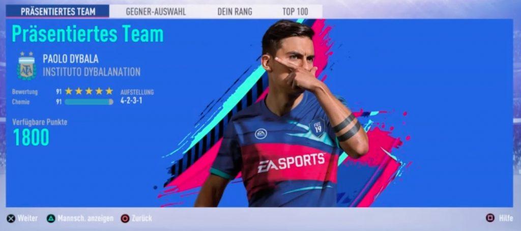 FIFA 19 FUT Swap Deal Präsentiertes Squad Battles Team