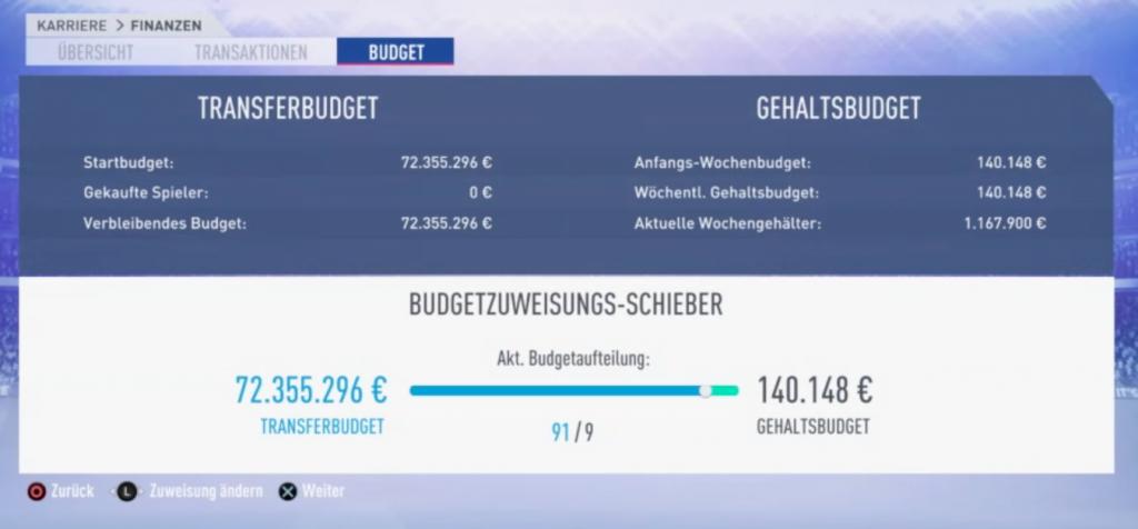 FIFA 19 Karriere Budgetzuweisung