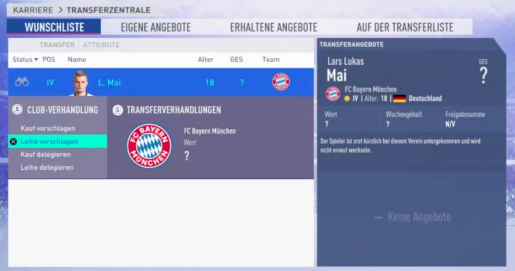 FIFA 19 Karriere Leihgeschäft
