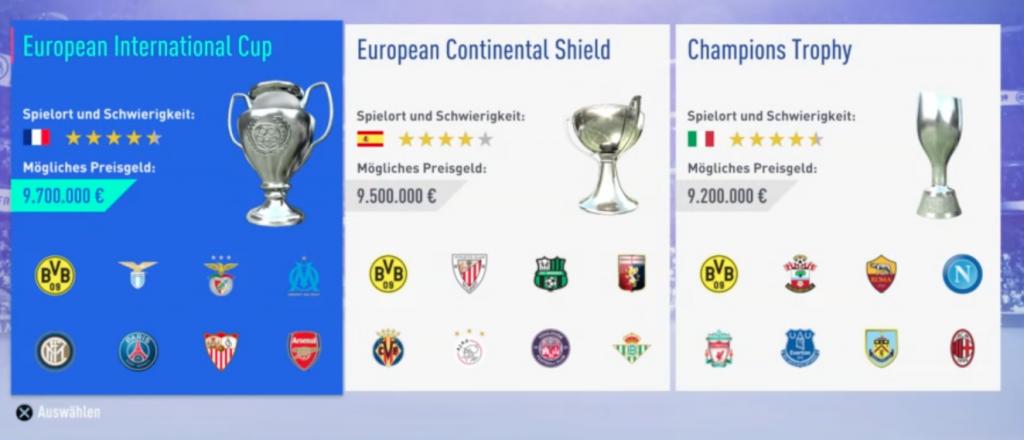 FIFA 19 Karriere Vorbereitungsturnier