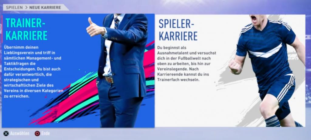 FIFA 19 Trainerkarriere Startmenü