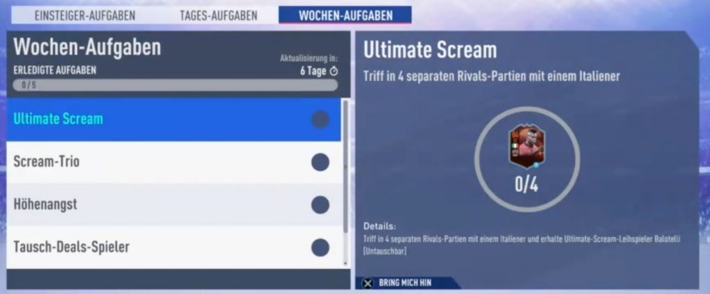 FIFA 19 Ultimate Scream Wochenziele