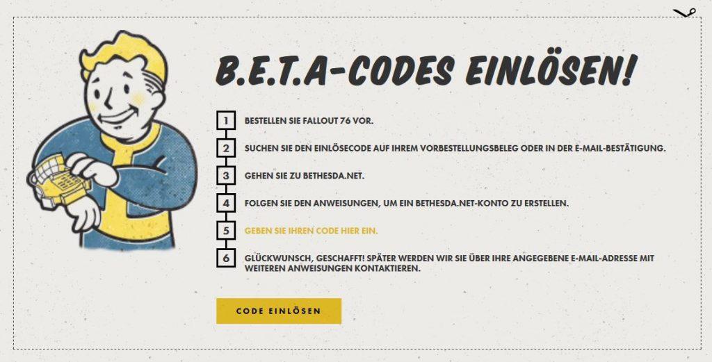 Fallout 76 Beta aktivieren