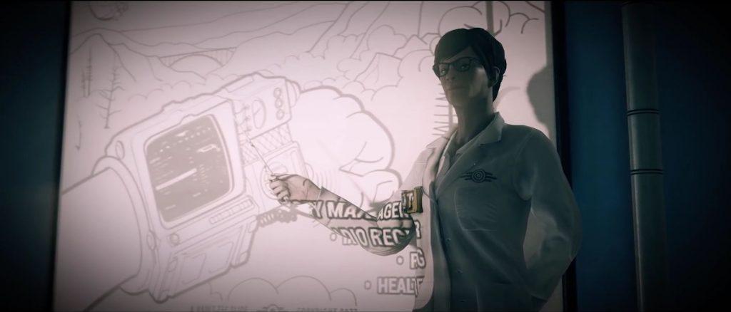 Fallout 76 kluger Mensch zeigt auf etwas