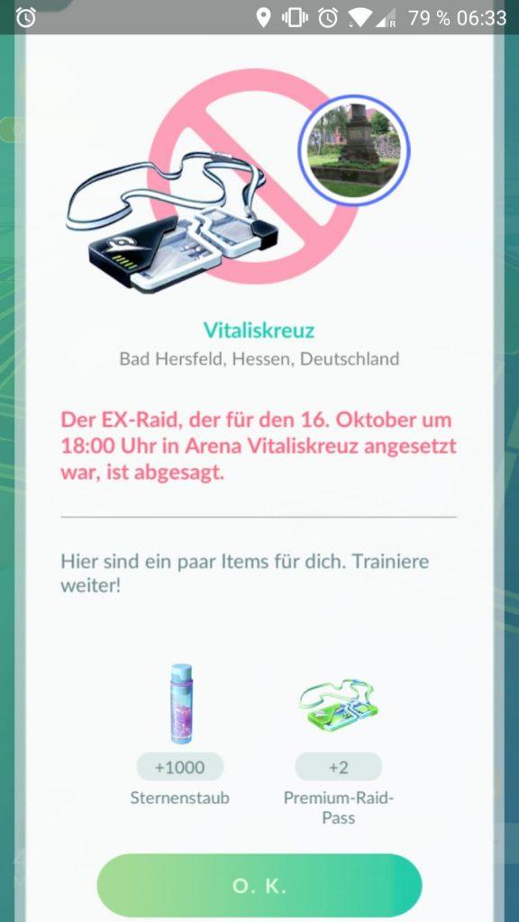 Pokémon go ex raid abbruch