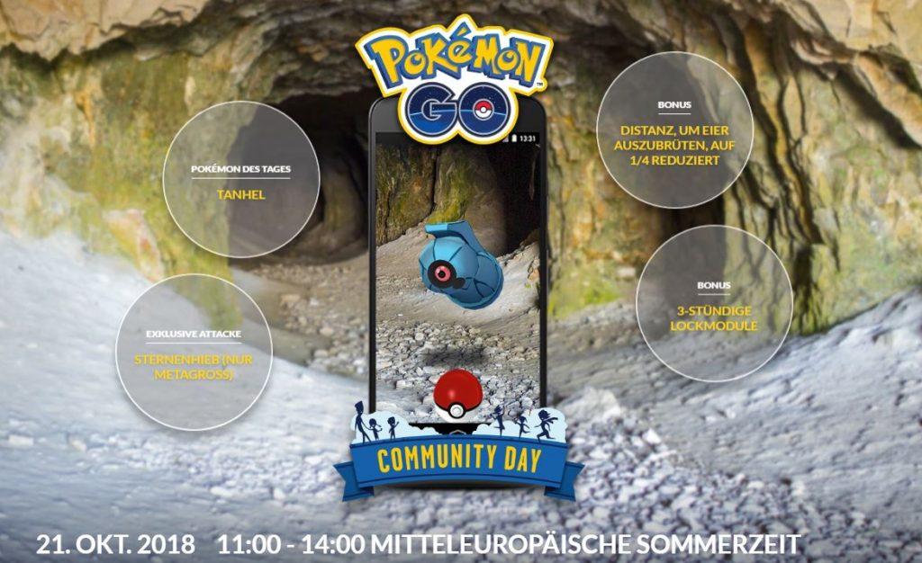 Pokémon GO Community Day Tanhel Übersicht