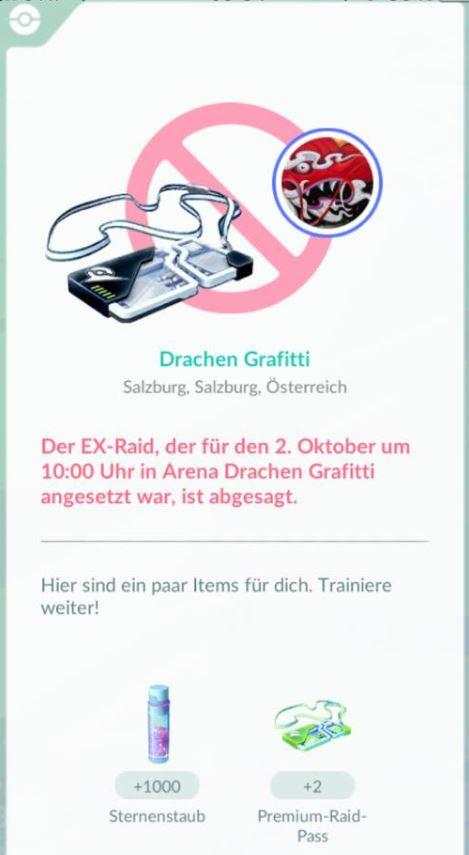 Pokémon GO EX Raid Cancel