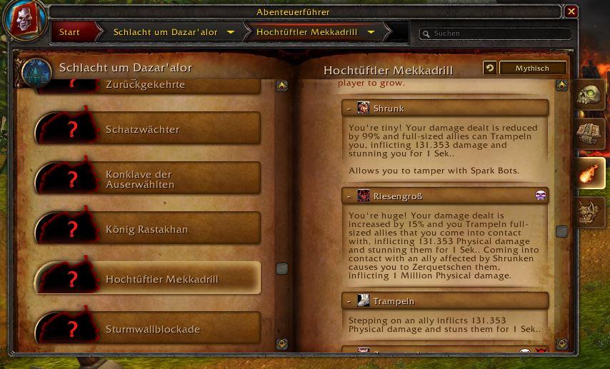 WoW PTR Screenshot Mekkadrill Fähigkeiten 2