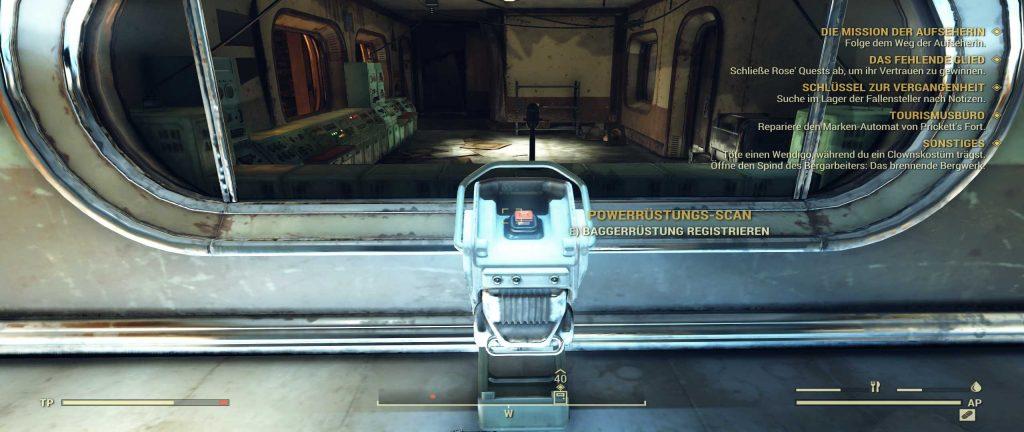 Fallout 76 Baggerrüstung Blaupause Knopf