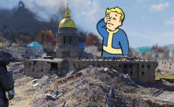 Fallout 76 Capitol Building in Charleston Vaultboy Facepalm