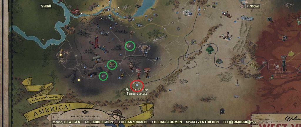 Fallout 76 Karte Garrahan Mining Corp und Ash Heap Fundorte
