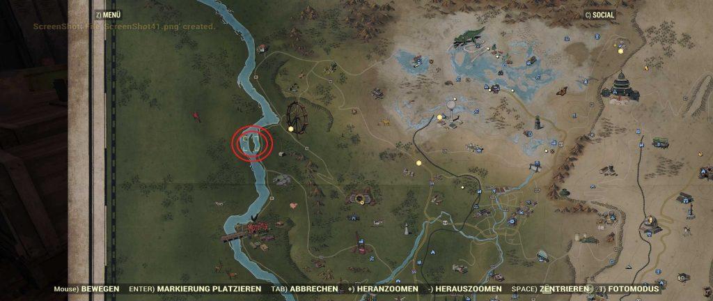 Fallout 76 Karte Mothman Museum und Todeskrallen