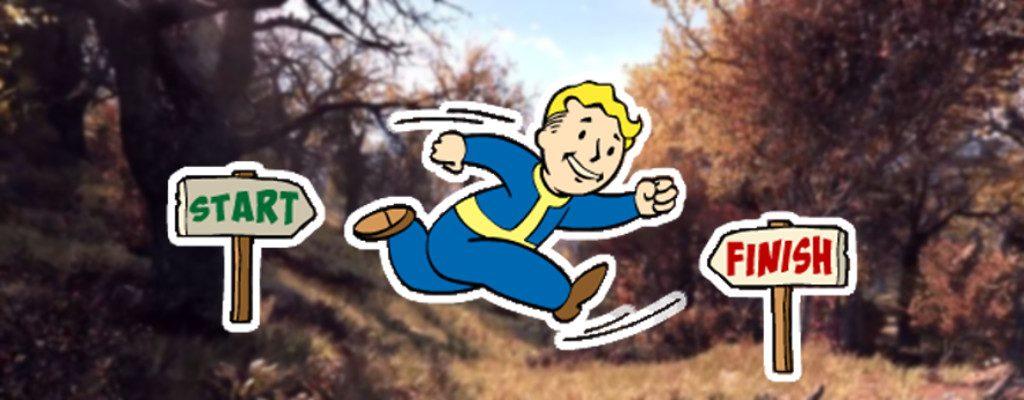 Fallout 76 Landschaft Titelmit rennendem Vault Boy Blitz Perk
