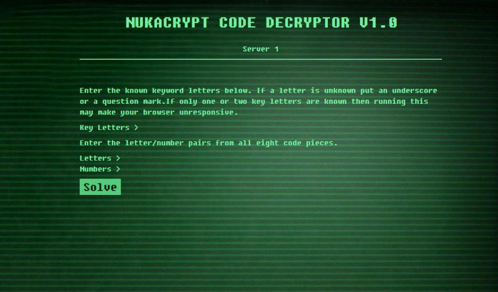 Fallout 76 NukaCrypt Website für nukleare Abschusscodes