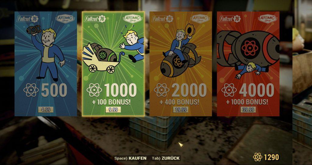 Fallout 76 Screenshot Atome Kosten