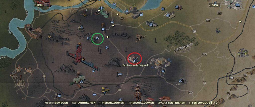 Fallout 76 brennendes Bergwerk Karte