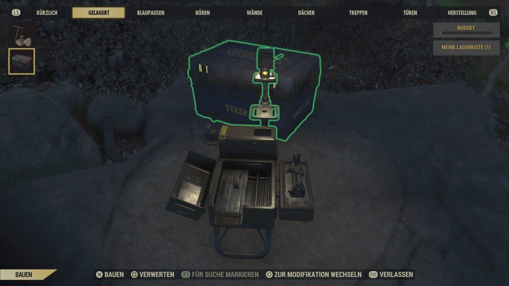 Fallout 76 Camp mit Kiste