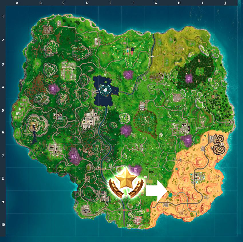 Fortnite Map Koordinaten Woche 10 Stern