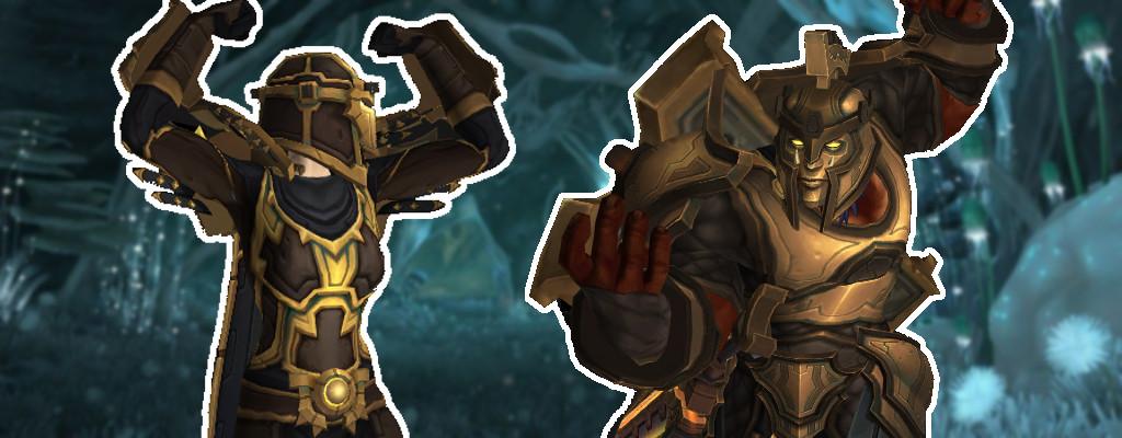 WoW Titel Mensch und Orc in Rüstung posieren vor Underrot