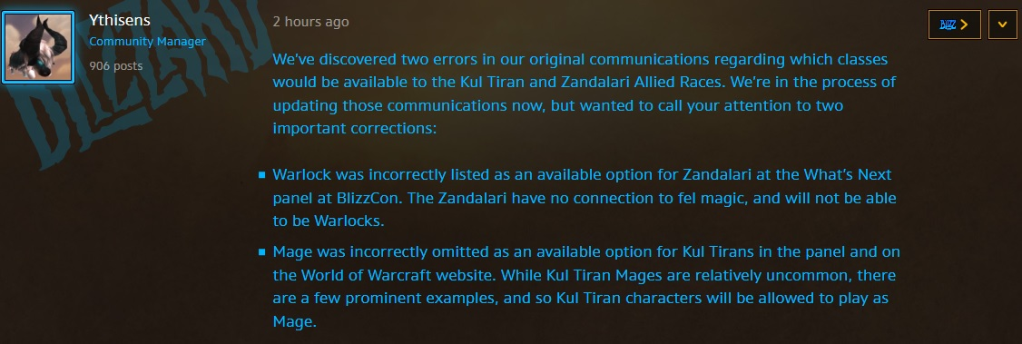 WoW Warlock Zandalari Blizzard Quote