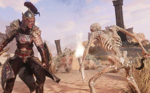 Conan Exiles Khitan DLC Krieger mit Skelett Titel