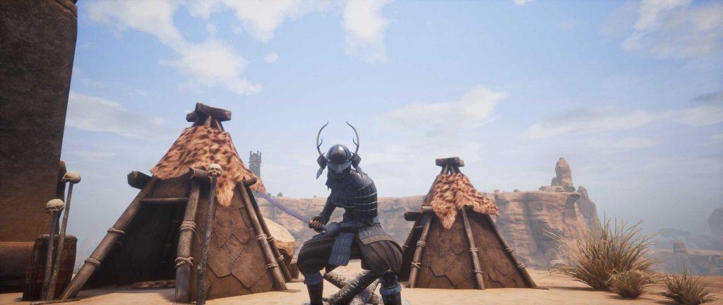 Conan Exiles Yamatai Samurai Rüstung mit Katana