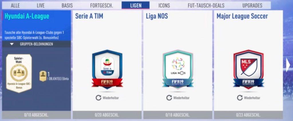 FIFA 19 Liga SBC Guide Übersicht