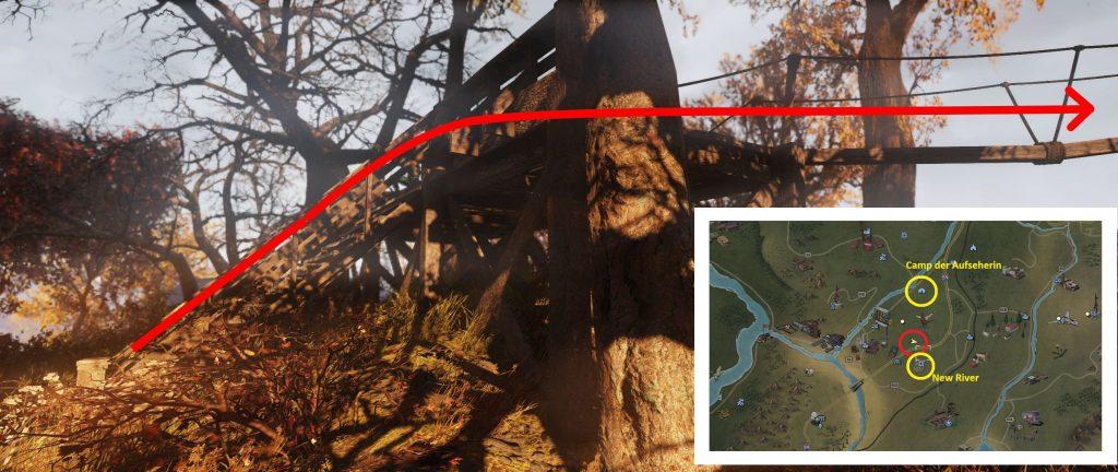 Fallout 76 Kletterwald Anfang eingezeichnet