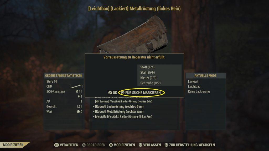 Fallout 76 material markieren