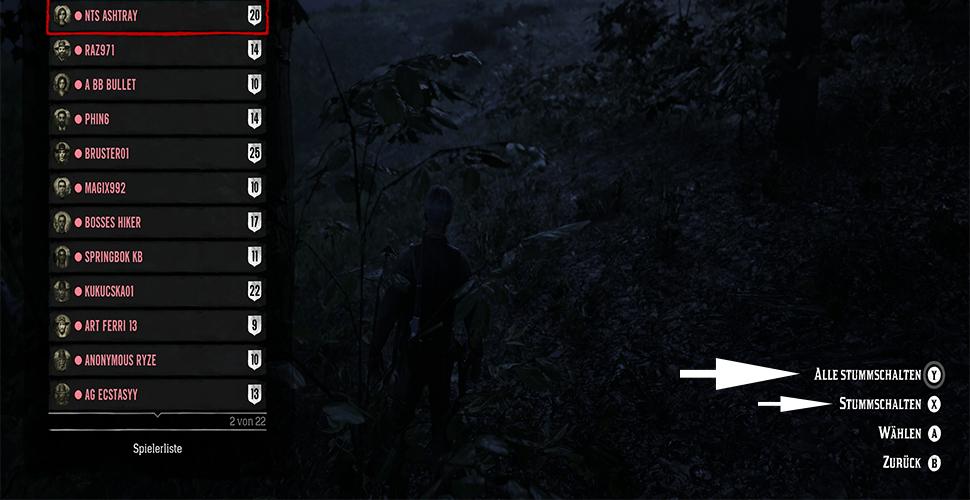 Red Dead Online Spielerliste Muten