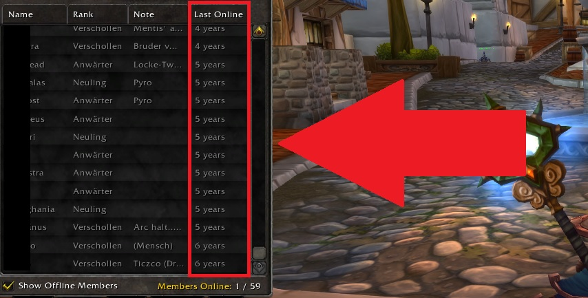 WoW Guild Inactive Members