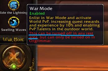 WoW Warmode deactivate