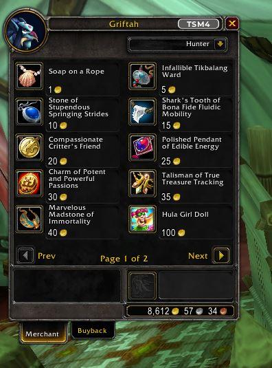 World of Warcraft Gaunah Inventar