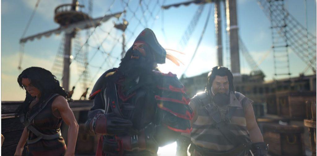 Ein Pirat mit seiner Crew in Atlas.