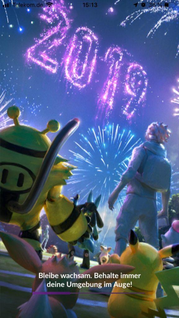 Pokémon GO Ladebildschirm Neujahr