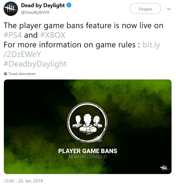 Dead by Daylight Tweet Player Game Bans